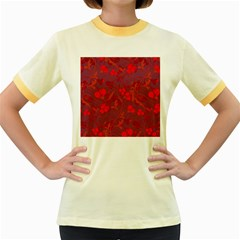 Red floral pattern Women s Fitted Ringer T-Shirts