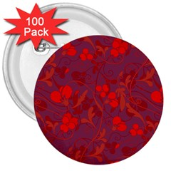 Red floral pattern 3  Buttons (100 pack)