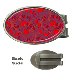 Red floral pattern Money Clips (Oval)