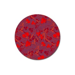 Red floral pattern Magnet 3  (Round)