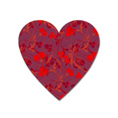 Red floral pattern Heart Magnet