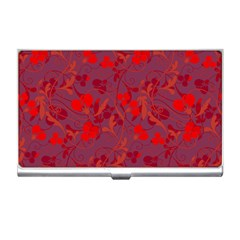 Red floral pattern Business Card Holders