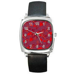Red floral pattern Square Metal Watch