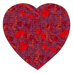 Red floral pattern Jigsaw Puzzle (Heart)