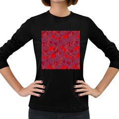 Red floral pattern Women s Long Sleeve Dark T-Shirts