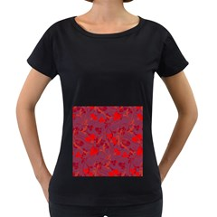 Red floral pattern Women s Loose-Fit T-Shirt (Black)