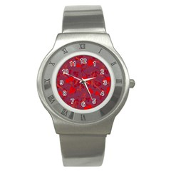 Red floral pattern Stainless Steel Watch