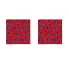 Red floral pattern Cufflinks (Square)