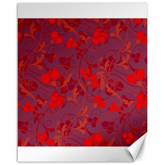 Red floral pattern Canvas 16  x 20