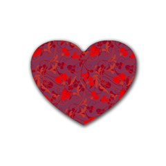 Red floral pattern Rubber Coaster (Heart)