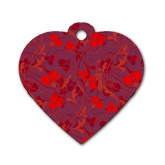 Red floral pattern Dog Tag Heart (Two Sides)