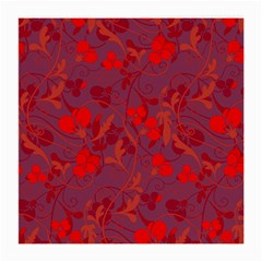 Red floral pattern Medium Glasses Cloth (2-Side)