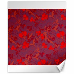 Red floral pattern Canvas 11  x 14