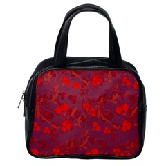 Red floral pattern Classic Handbags (One Side)