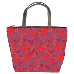 Red floral pattern Bucket Bags