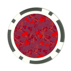 Red floral pattern Poker Chip Card Guard (10 pack)