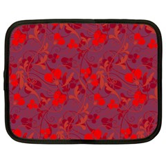 Red floral pattern Netbook Case (XL)