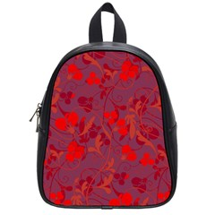 Red floral pattern School Bags (Small)