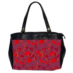 Red floral pattern Office Handbags (2 Sides)