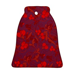 Red floral pattern Bell Ornament (Two Sides)