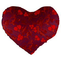 Red floral pattern Large 19  Premium Heart Shape Cushions