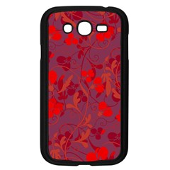 Red floral pattern Samsung Galaxy Grand DUOS I9082 Case (Black)