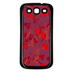 Red floral pattern Samsung Galaxy S3 Back Case (Black)