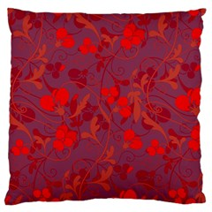 Red floral pattern Large Flano Cushion Case (One Side)