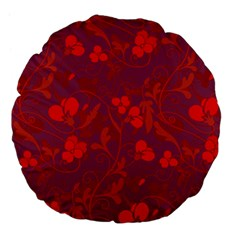 Red floral pattern Large 18  Premium Flano Round Cushions