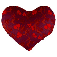 Red Floral Pattern Large 19  Premium Flano Heart Shape Cushions