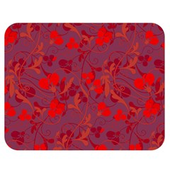 Red floral pattern Double Sided Flano Blanket (Medium)