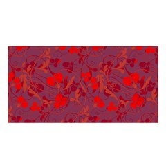 Red floral pattern Satin Shawl