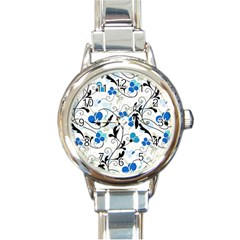 Floral pattern Round Italian Charm Watch