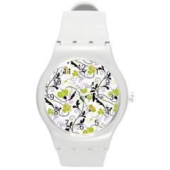 Floral pattern Round Plastic Sport Watch (M)