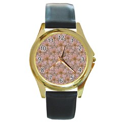 Nature Collage Print Round Gold Metal Watch