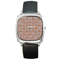 Nature Collage Print Square Metal Watch