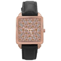 Nature Collage Print Rose Gold Leather Watch