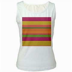 Pattern Women s White Tank Top