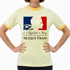 Symbol of the French Government Women s Fitted Ringer T-Shirts