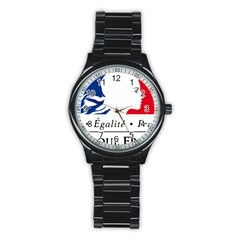 Symbol of the French Government Stainless Steel Round Watch