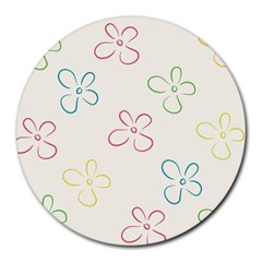 Flower Background Nature Floral Round Mousepads