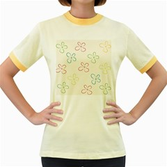Flower Background Nature Floral Women s Fitted Ringer T Shirts