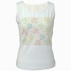 Flower Background Nature Floral Women s White Tank Top