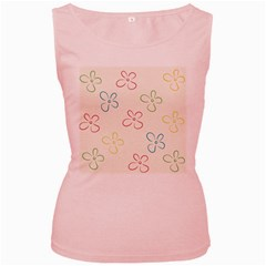 Flower Background Nature Floral Women s Pink Tank Top
