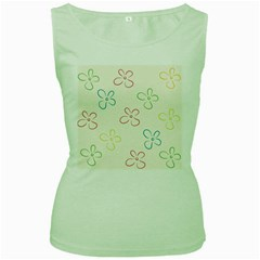 Flower Background Nature Floral Women s Green Tank Top