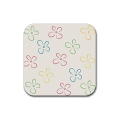 Flower Background Nature Floral Rubber Square Coaster (4 Pack)
