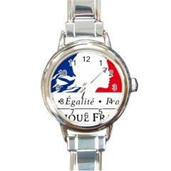 Symbol of the French Government Round Italian Charm Watch