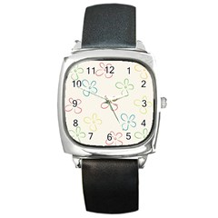 Flower Background Nature Floral Square Metal Watch