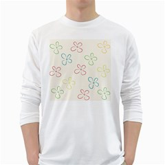Flower Background Nature Floral White Long Sleeve T-Shirts