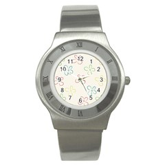 Flower Background Nature Floral Stainless Steel Watch